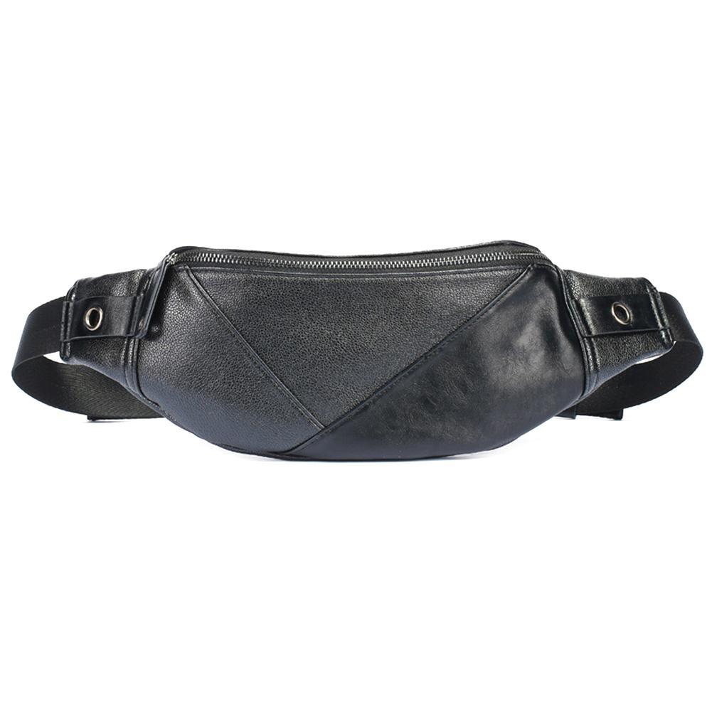 Nerka Waist Bag Casual Men Portable Solid Color Waist Chest Bag Waterproof Chest Handbag Soft Faux Leather Fanny Pack Belt Bag