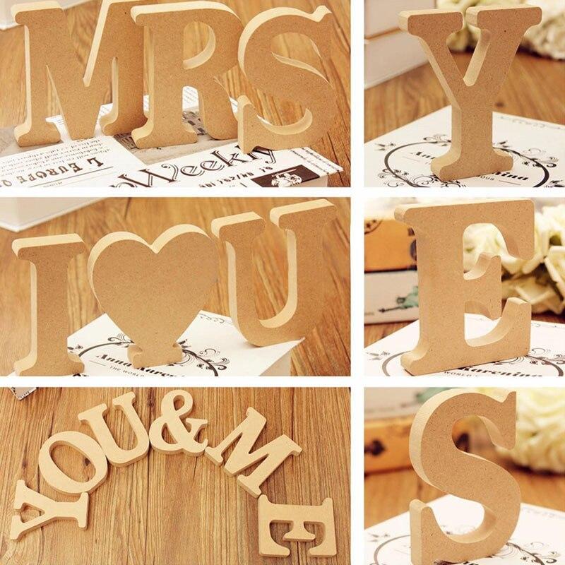 10cm wysoki kolor drewna drewniane litery alfabetu DIY słowo list rzemiosło artystyczne nazwa stojąca projekt urodziny ślubny wystrój domu