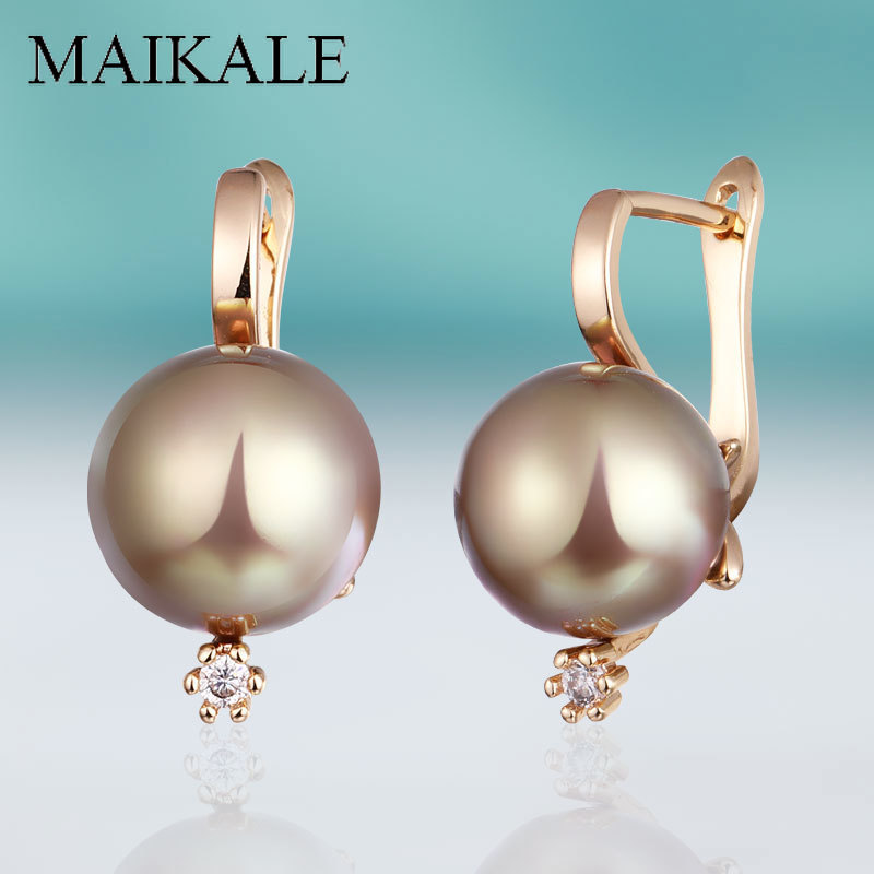 MAIKALE New Trendy Cubic Zirconia Stud Earrings With Pearl Fine Jewelry Rose Gold For Women Exquisite Gift