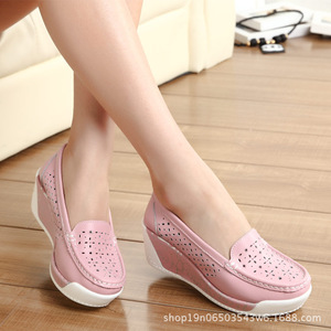 Image 2 - COWCOM Drop Sale Spring Thick soled Platform Shoes Womens Casual Slope Hollow Round Head Bottom Womens Shoes Summer
