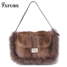 2019 Women Real Mink Fur Bag Wrist Bags Winter Single Shoulder New Genuine Luxury Hdsp Fox Handbags Coffee