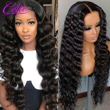 Парик Celie свободного покроя с глубокой волной, 28, 30 дюймов, парики из человеческих волос на сетке спереди для черных женщин, 360, парик на сетке ...