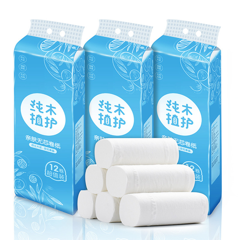12 Roll Toilet Paper Bulk Roll Bath Tissue Bathroom White Soft 4 Ply Thicken For Home New H9