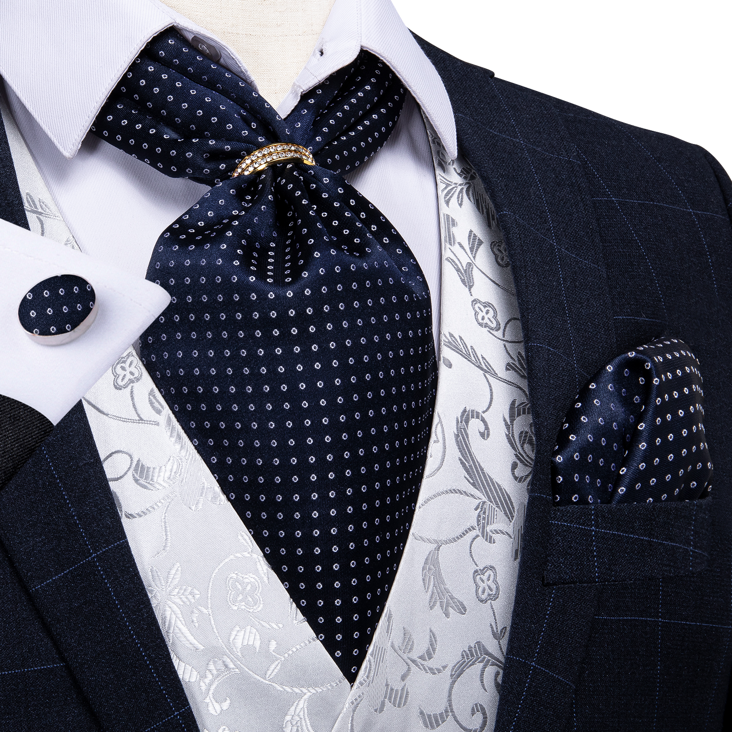 New Design Men Silk Cravat Navy Dot Formal Ascot Tie Handkerchief Set With Ring Wedding Formal Self Tie Necktie DiBanGu
