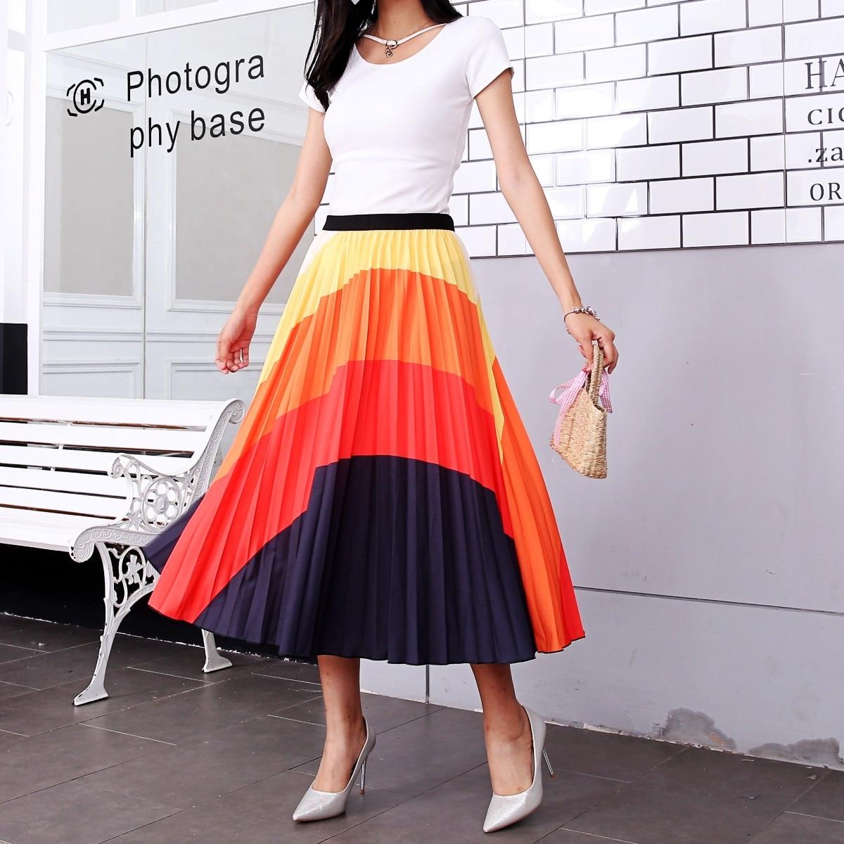 2020 New Summer Skirts Womens Butterfly Catroon Print Empire High Waist Elastci Pleated Midi Skirt European High Street Style 11
