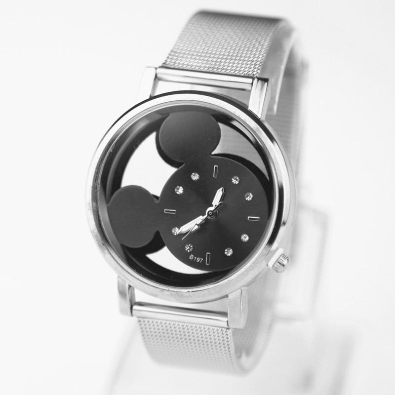 Zegarek Damski Fashion Mickey Mouse Women Watch Luxury Brand Quartz Watches Women Hollow Crystals Stainless Steel Wristwatches