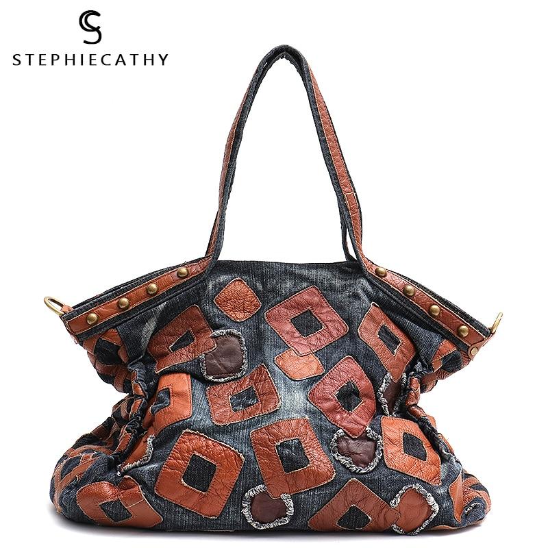 SC Vintage Denim Material Large Capacity Tote For Ladies Cow Leather Patchwork Shoulder&Top-handle Female Casual Studs Handbag