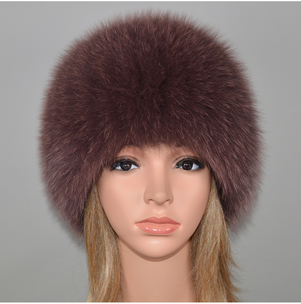 Hf329955f1d3543f58f336bd34f262792a - New Luxury 100% Natural Real Fox Fur Hat Women Winter Knitted Real Fox Fur Bomber Cap Girls Warm Soft Fox Fur Beanies Hats