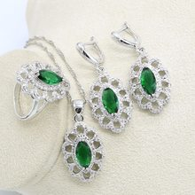 Gorgeous Imitation Emerald Jewelry Sets For Women Green 925 Silver Earrings Necklace Rings Set Wedding Gifts Box(China)