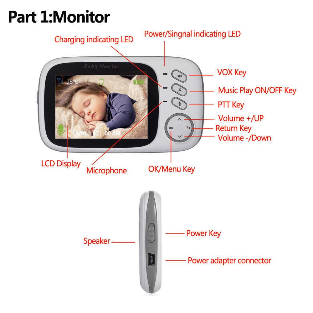 جديد VB603 3.2 بوصة LCD مراقبة الطفل مربية رصد درجات الحرارة تهليل 2 طريقة الصوت IR للرؤية الليلية الأمن درجة الحرارة كاميرا