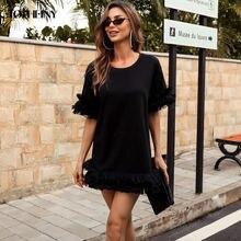 Женское черное платье свитшот с капюшоном tosheiny осенне зимний