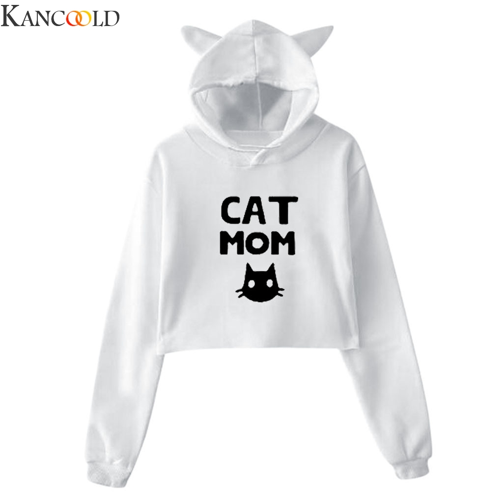 KANCOOLD Women's Winter Personality Cat Ears Lumbar Loose Fleece Hooded Sweatshirt  Female Autumn New polyester Fashion Cute