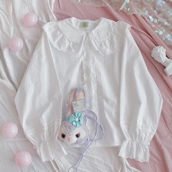 Japanese Lolita Style Women White Shirt Peter Pan Collar Hollow Out Cotton Blouse Cute Kawaii Bear Embroidery Adorable Blouse 1