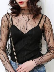 Tops Tee Pullover Sexy t-Shirt Fashion Clothing See-Through Black Mesh Long-Sleeve Korean