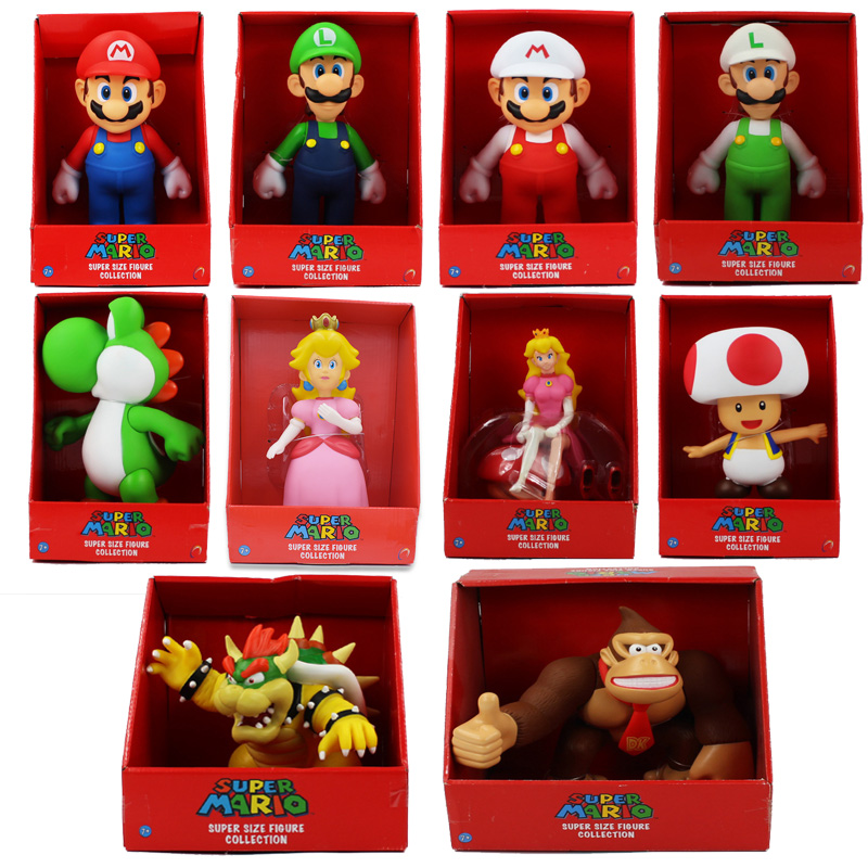 23CM 10Style Mario Bros Figure Yoshi Toad Pink Princess Peach Mario Luigi Donkey Kong Bowser Model Collection Action Figure Toys