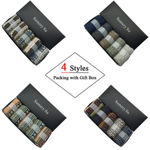 Image 2 - 5 Pairs/Lot Wool Socks Men Winter Warm Cashmere Comfortable Long Crew Casual Bohemian Sock Male Gift for Husband Father 4 Styles