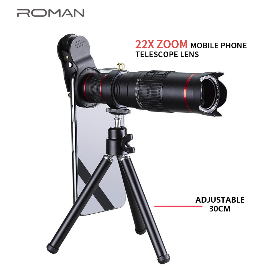 HD 4K 22x Zoom Mobile Phone Telescope Lens Telephoto External Smartphone Camera Lenses for IPhone Sumsung Huawei Xiaomi Phones|Mobile Phone Lens| |  - title=