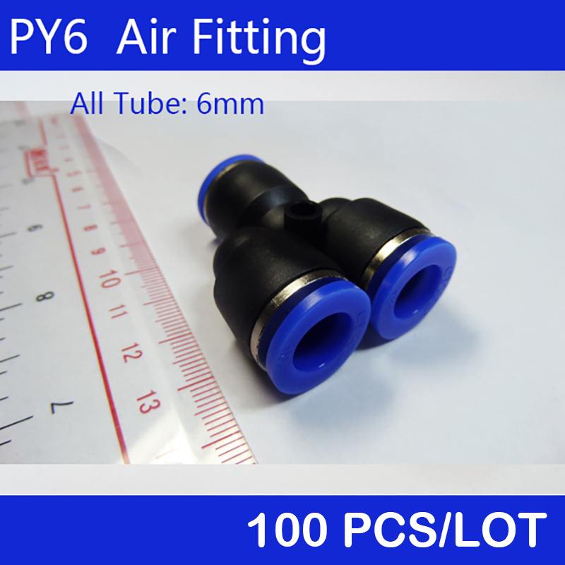 High quality PY6 100Pcs <font><b>6mm</b></font> Air Pneumatic <font><b>Tube</b></font> Y Quick Connector One Touch Push In <font><b>Fitting</b></font> image