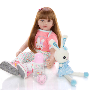 24 Inch Reborn Doll 60 cm Silicone Soft Realistic Princess Girl Baby Doll For Sale brown long hair bebe reborn Doll Xmas Gifts(China)