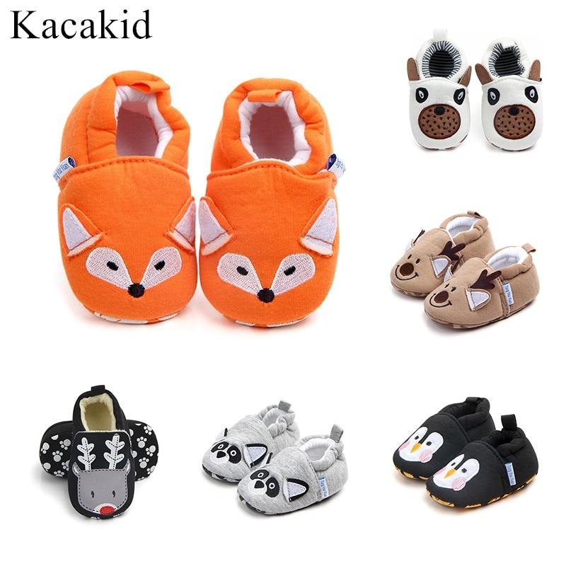 New Autumn Winter Baby Girls Shoes Girls Boys First Walk Cotton Cartoon Animals Slippers Newborn Infant Baby Kid Slipper Casual