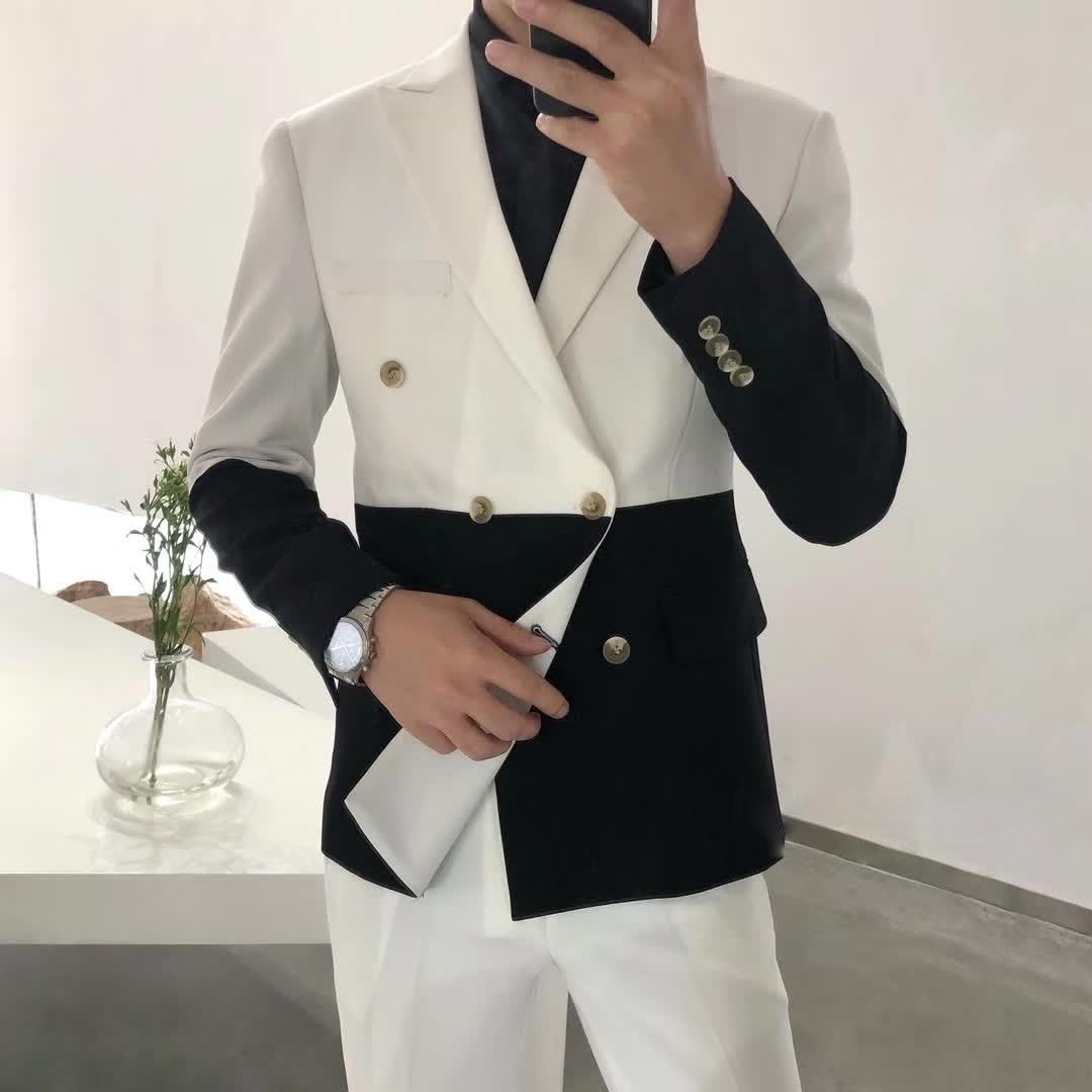 Men's Blazer Hombre Semi-Black Red White Double-Breasted Blazer Masculino Slim Wedding Prom Fashion Stitching Men's Blazer Men