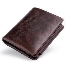 2021 nova rfid anti roubo carteira dos homens retro três vezes titular do cartão de visita saco dinheiro bolsa do vintage couro genuíno carteira masculina