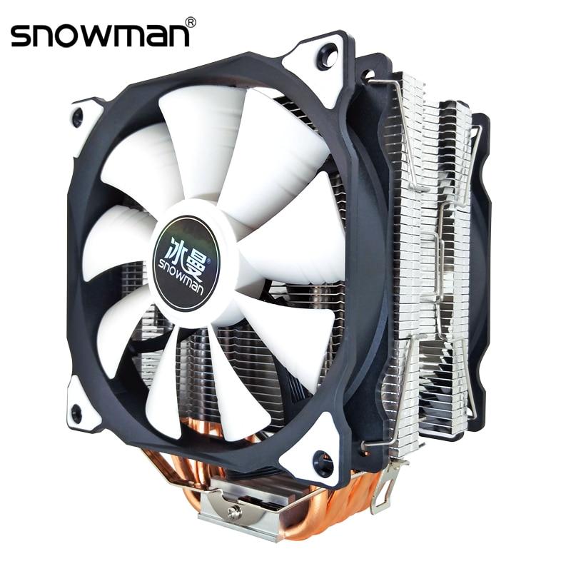 SNOWMAN CPU Cooler 6 Heat Pipes 120mm 4 Pin PWM For Intel LGA 1150 1151 1155 1366 775 AMD AM4 AM3 AM2 CPU Cooling Fan PC Quiet