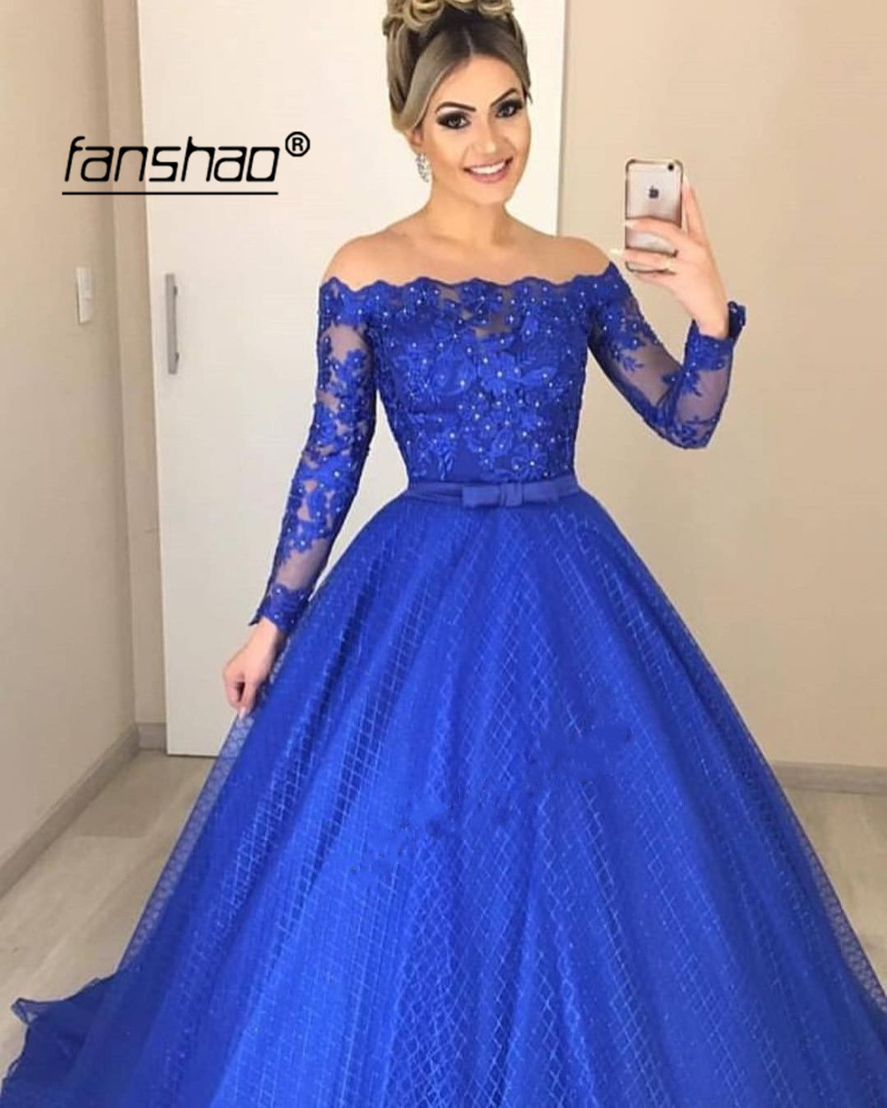 Royal Blue Muslim Evening Dresses Off The Shoulder Vestidos De Festa Dubai Saudi Arabic Evening Dress  Prom Dress Abendkleider
