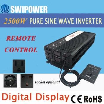 2500W onda sinusoidal pura inversor de energía solar 24V DC 12V 48V a AC 110V 220V pantalla digital