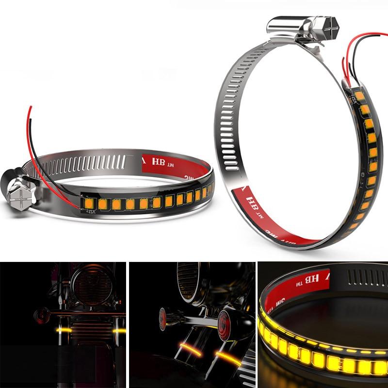 DERI Universal Motorcycle Fork Turn Signals Light IP67 LED Strips 250mm Flashing Amber Lamp intermitente led moto frecce moto|  - title=