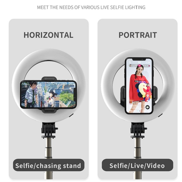 COOL DIER 4in 1 Wireless Bluetooth Selfie Stick With 6inch LED Ring Photography Light Foldable Tripod