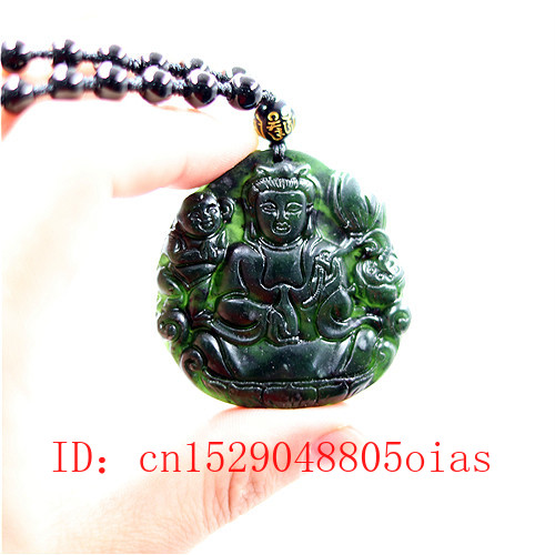 Natural Black Green Chinese Jade Guanyin Pendant Beads Necklace Charm Jewelry Obsidian Carved Buddha Amulet Gifts For Men Women