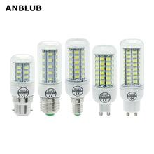 ANBLUB LED 램프 E27 E14 B22 G9 GU10 빛 220V SMD 5730 샹들리에 스포트 라이트 24 36 48 56 69 72LEDs 옥수수 전구 홈 장식