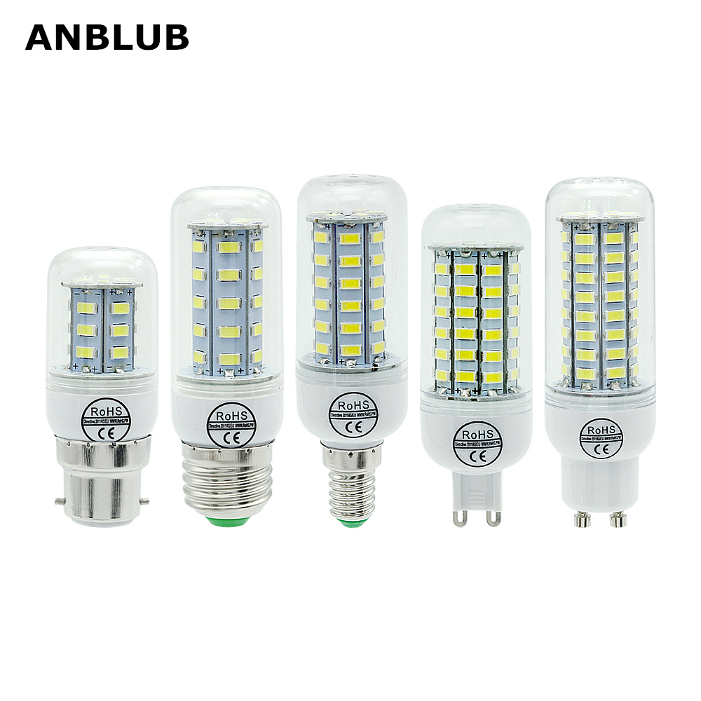 ANBLUB LED Lamp E27 E14 B22 G9 GU10 Light 220V SMD 5730 Chandelier Spotlight 24 36 48 56 69 72LEDs Corn Bulb Home Decoration