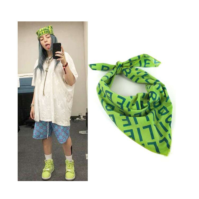 2020 New Billie Eilish Bandana Cosplay Headband Hair Band Headwear Hip-hop Green Square Scarf Roles Necklace Badge Brooch Hat