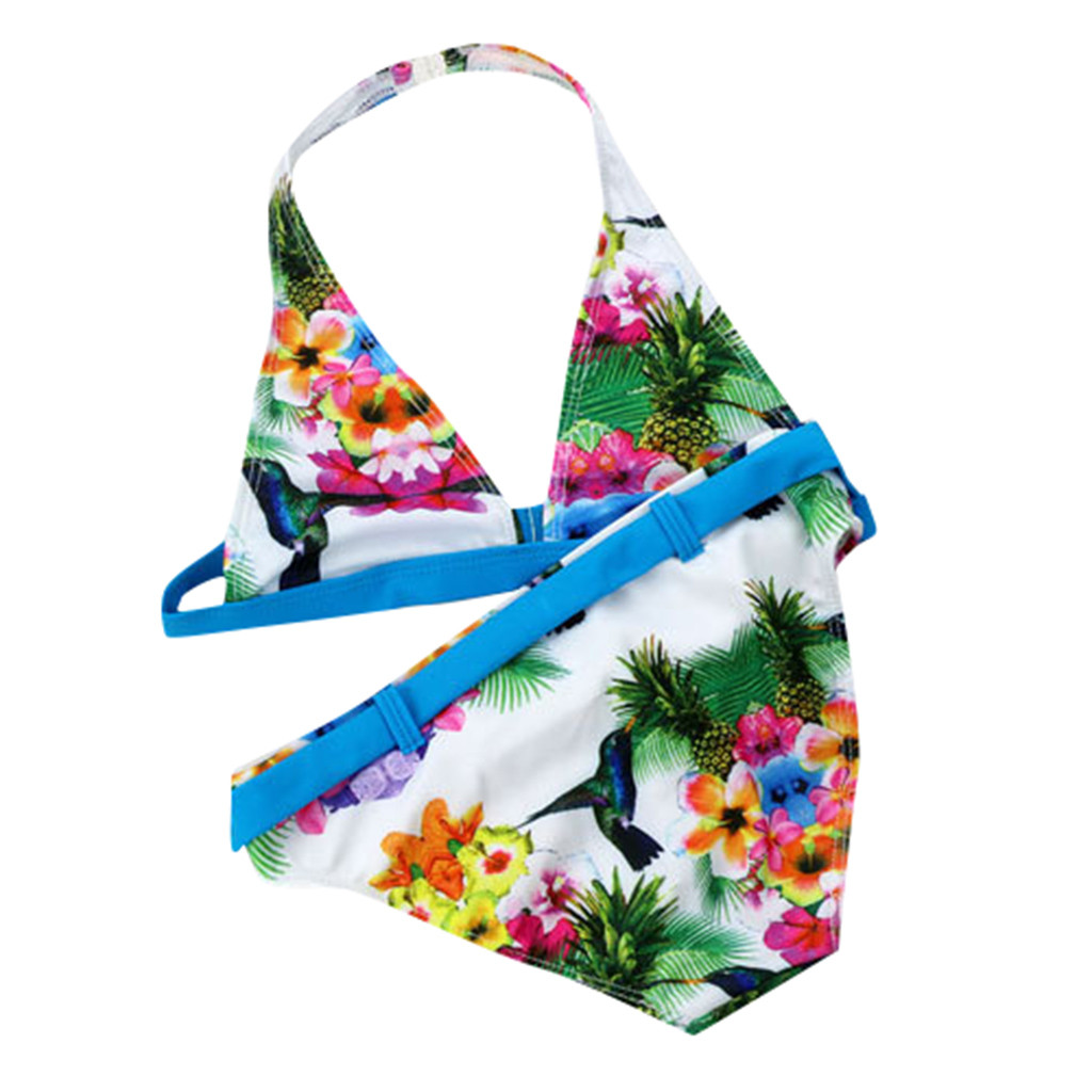 Swimwear For Children Summer Kids Baby Girls Floral Printed Bikini Two Pieces Swimwear Swimsuit Bikini Outfits L1204