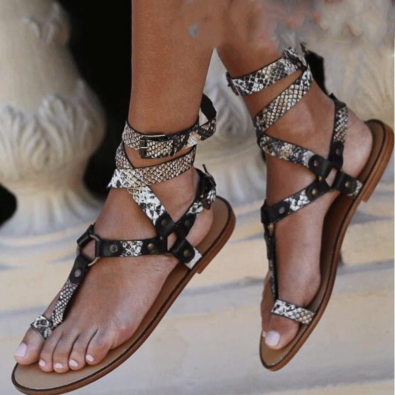 2020 New Summer Open Toe Flat Sexy Sandals Women Cross Strappy Ankle Strap Gladiator Flip Flops Women Beach Shoes Big Size 43