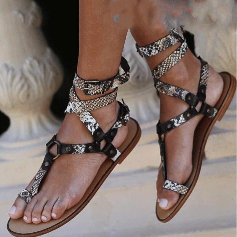 2020 New Summer Open Toe Flat Sexy Sandals Women Cross Strappy Ankle Strap Gladiator Flip Flops Women Beach Shoes Big Size 43