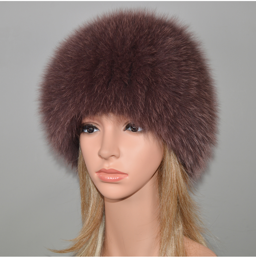 Hf32adfa8896e4875b0cb45a65becd6036 - New Luxury 100% Natural Real Fox Fur Hat Women Winter Knitted Real Fox Fur Bomber Cap Girls Warm Soft Fox Fur Beanies Hats
