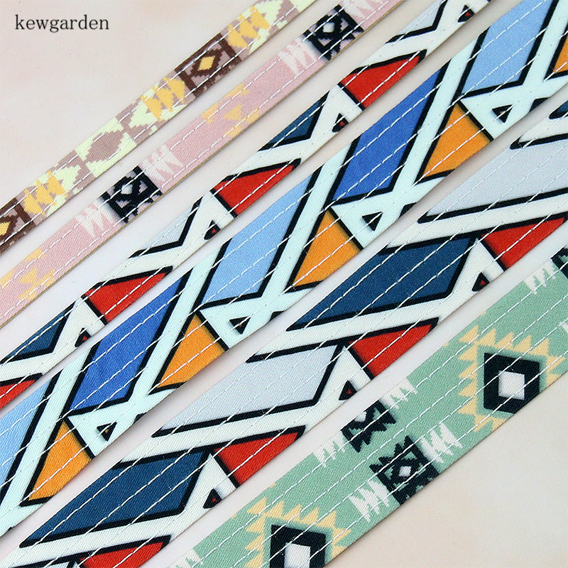 Kewgarden DIY Bowknot Pet Collar Accessories 1 3/8 Geometric Plaid Fabric Layering Cloth Ribbon Handmade Tape Webbing 6 Meters image