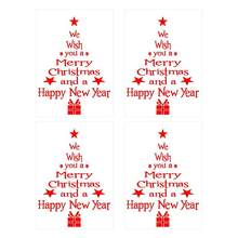 4pcs Christmas Tree Shape Sticker Wall Sticky Decoration English Letter Design Wall Decal Home Ornament for Home House Party(China)