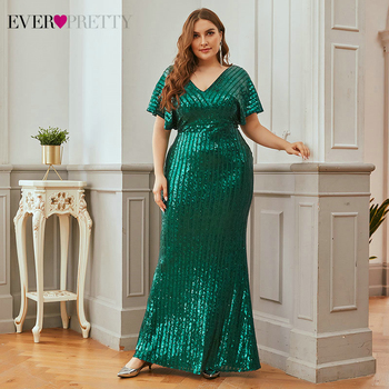 Ever Pretty Plus Size Evening Dresses Mermaid Sequined Striped Deep V-Neck Short Sleeve Dark Green Sexy Party Gowns Vestidos