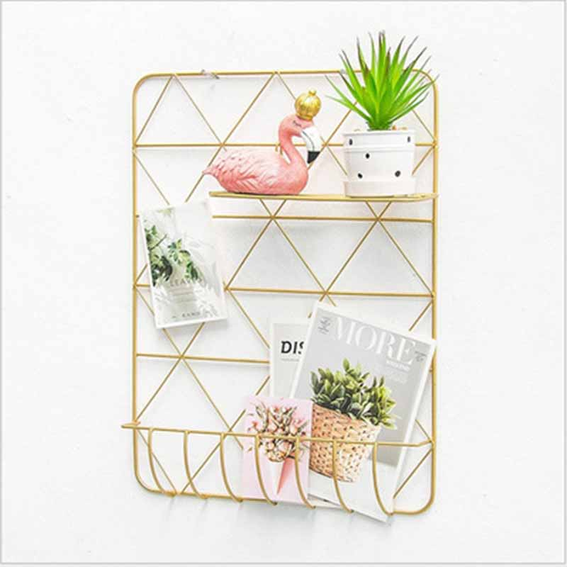 Wall Mount Iron Grid Photo Wall Decor Gold Color Wall Hanging Mesh Display Panel Wall Art Display Memo Board Photo Storage Shelf
