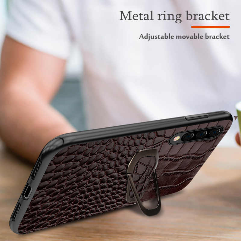 Funda magnética de cuero genuino para Samsung Galaxy a50 a70 a40 a30 A80 A9 a8 a7 2018 note 10 plus s10 s9 cubierta de lujo del soporte del anillo
