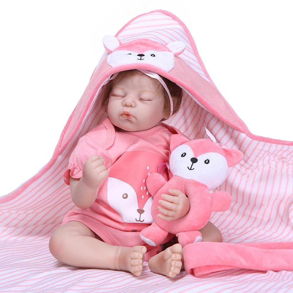 NPK mignon bebes reborn poupée 50cm renard doux Silicone réaliste enfants accompagner jouet noël surprise cadeaux lol poupée nouveau