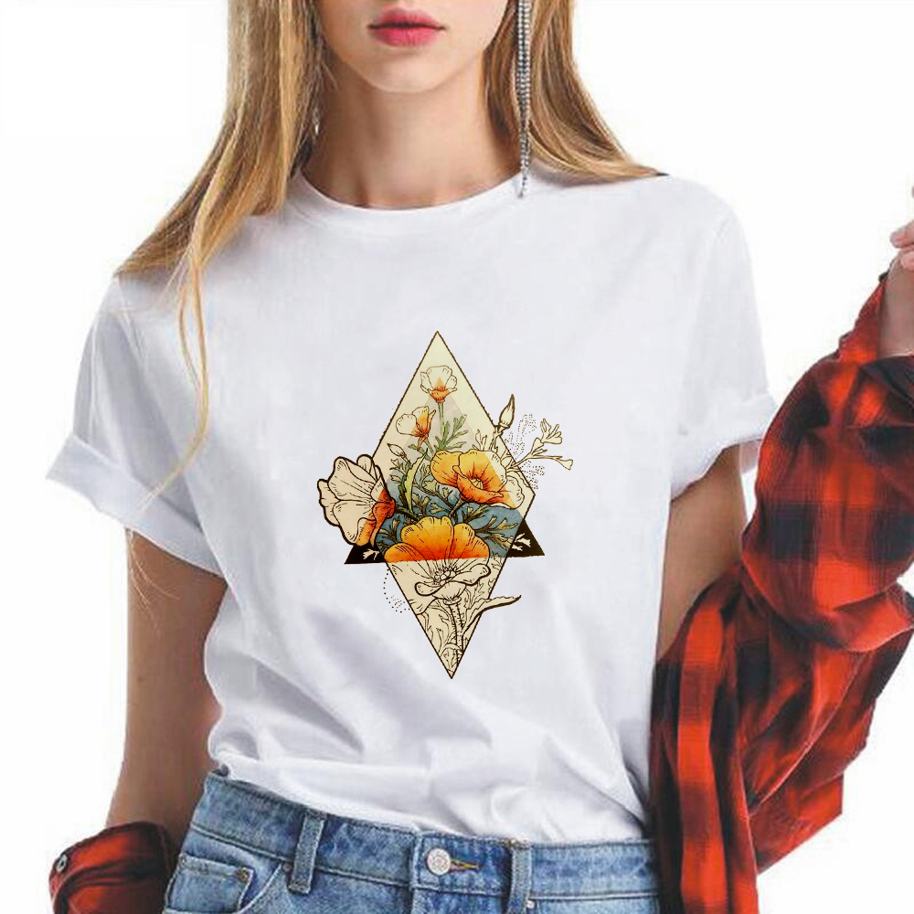 Fashion Tattoo designs Flowers Printing T-shirt Funny Cute Trendy Vogue Harajuku Tshirt Vintage Versatile Retro Cool Vestidos