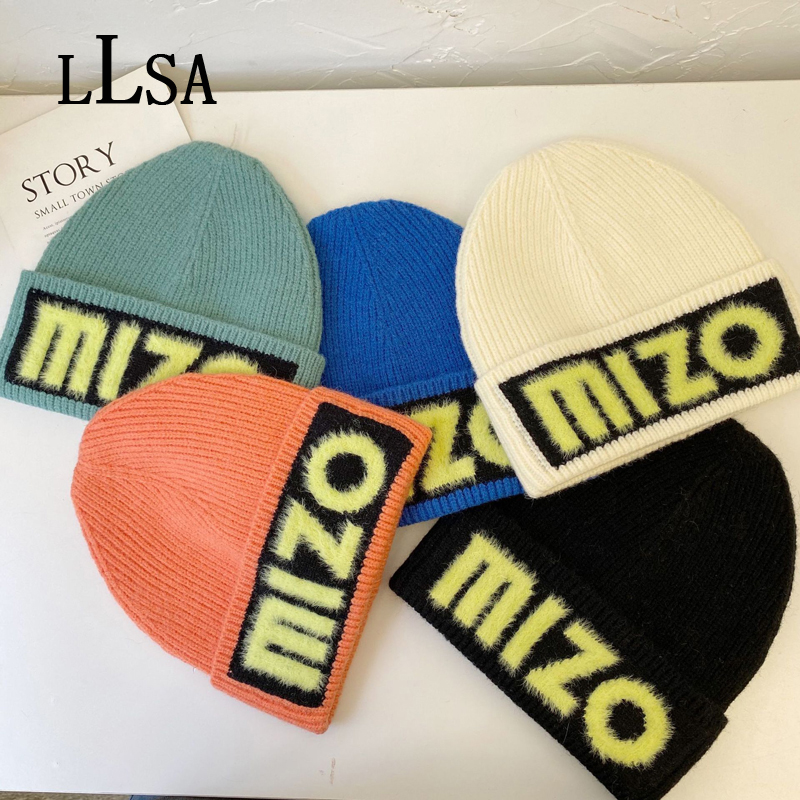 Winter Korea Women'S Wool Hat Furry Letters Embroidery Brand Beanie Designer Luxury Knitted Hat Candy Colors Hedging Cap Trend