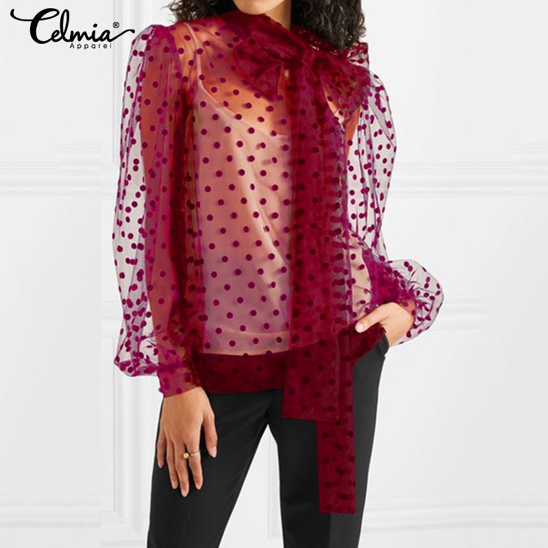 Celmia Women Mesh Sheer Blouse See-through Long Sleeve Top Bow Collar Fashion Polka Dot Transparent Shirt Female Blusas S-5XL