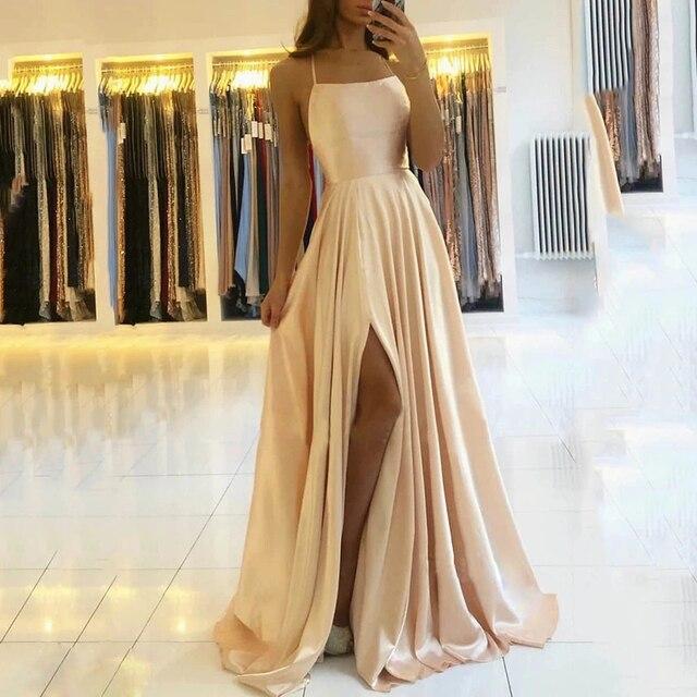 AE946 satin Dresses Evening Dress prom party Robe De Soiree Longue Formal Dress simple Spaghetti sexy slit коктейльные 1