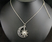 FEECOLOR 1pc Filigree SUN AND MOON Charm Classics Necklace Unisex Accessories Fashion Jewlery hollowed filigree butterfly necklace and earrings